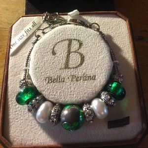 Bella Perlina Pandora #10032 Green Silver White
